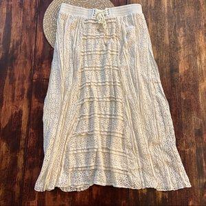 Lapis cream colored boho lace maxi skirt